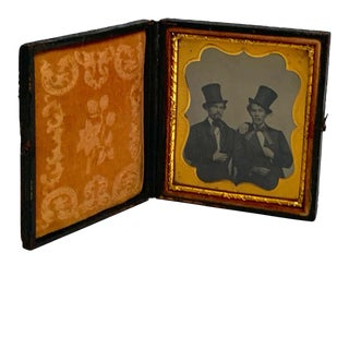 Daguerreotype Portrait of Two Men Embracing, Smoking With Ties and Top Hats For Sale