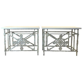 Iron Balconies Made Into Consoles, Pair For Sale