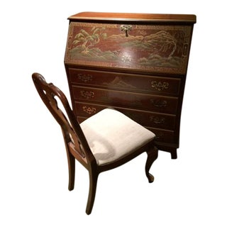 Vintage French Style Secretary With Chair