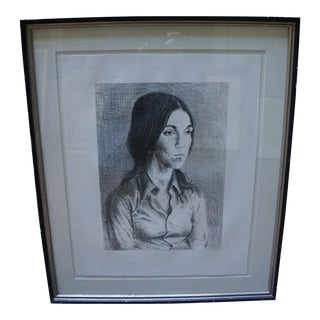 Vintage Mid Century B&w Etching of a Girl Portrait (7/125) by Raphael Soyer For Sale