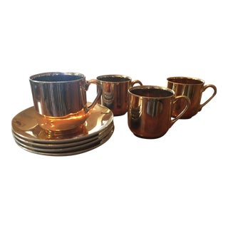 Copper Japanese Tea - Set of 4 For Sale