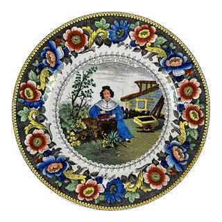 Creil Polychrome Transferware Polychrome Plate – Les Bonnes Cerises, Circa 1830 For Sale