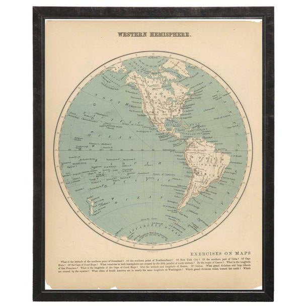 Illustration Western Hemisphere Map in Pewter Shadowbox For Sale - Image 3 of 3