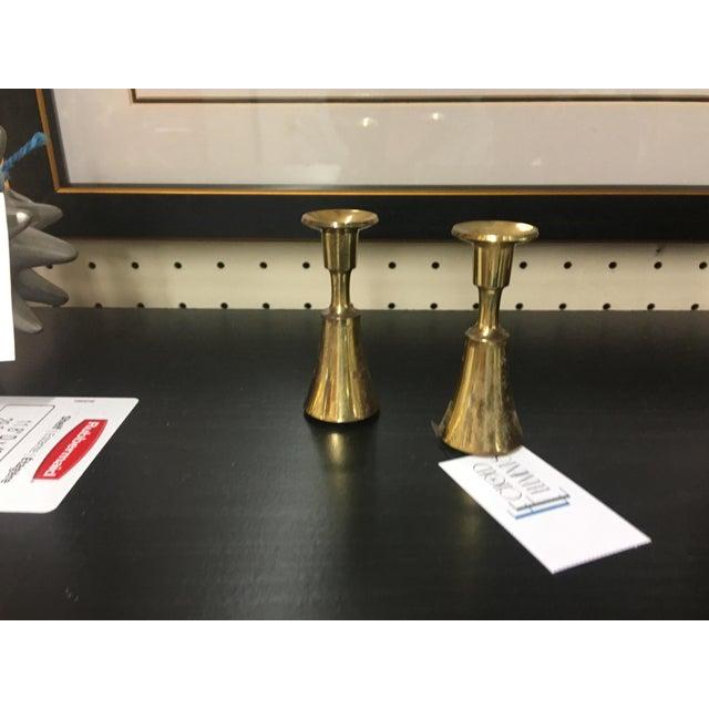 Danish Brass Thin Candlesticks - a Pair - Image 5 of 5