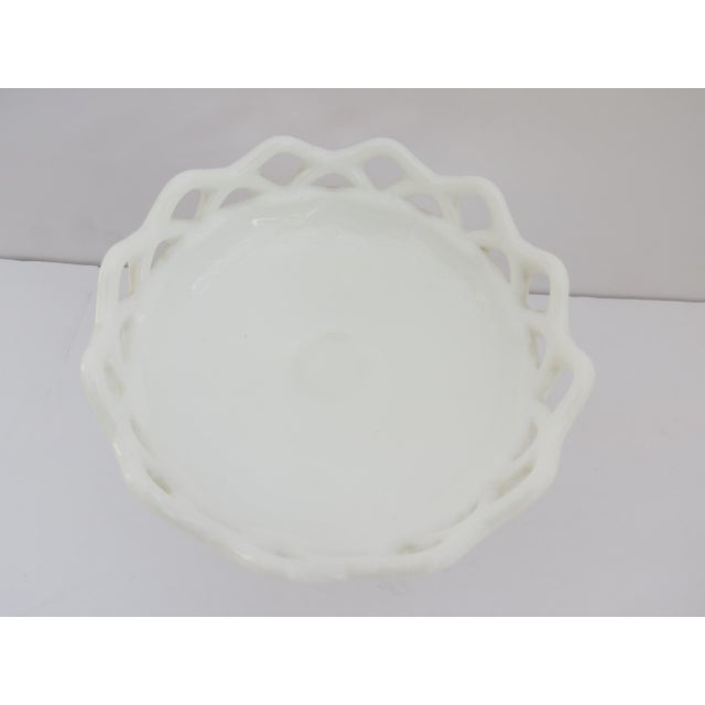 Milk Glass Compote Dish For Sale - Image 4 of 5