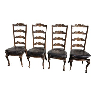 1960s Vintage English Oak Leather Dining Chairs- Set of 4 For Sale