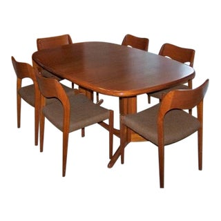 1960s Danish Modern No Moller for Gudme Teak Dining Set - 7 Pieces For Sale
