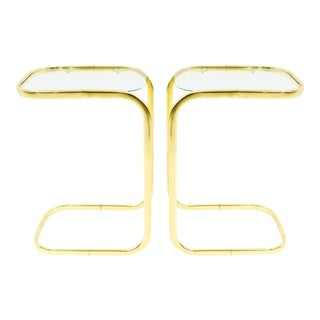 Modern Milo Baughman Brass and Glass Drink / Side Tables - A Pair For Sale