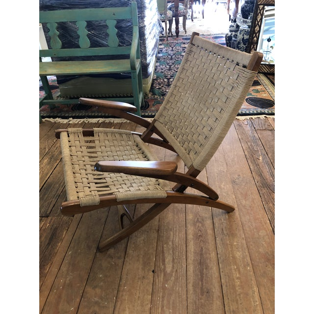 1970s Organic Mid Century Modern Woven Rope and Teak Folding Armchair For Sale - Image 5 of 12