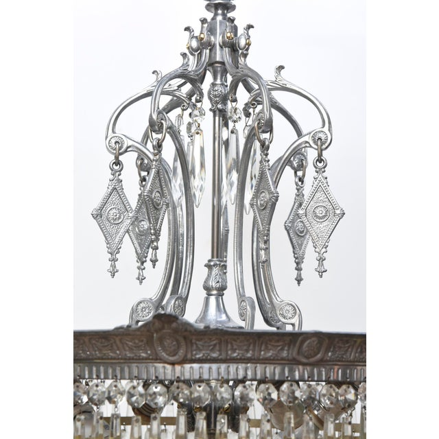 Tiered Crystal Four Light Fixture For Sale In Boston - Image 6 of 11
