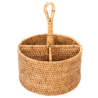 Artifacts Rattan 4 Section Cutlery Holder For Sale