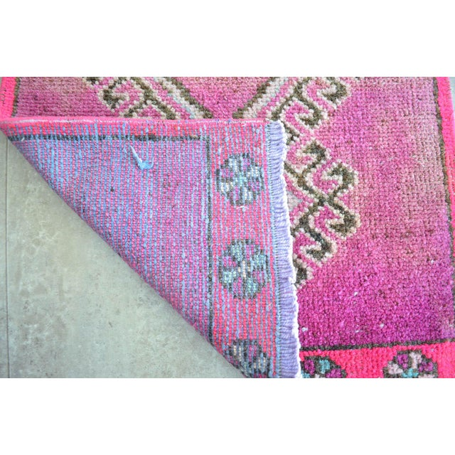 Boho Chic Distressed Low Pile Turkish Yastik Petite Rug Low Pile Faded Mat - 17'' X 40'' For Sale - Image 3 of 5