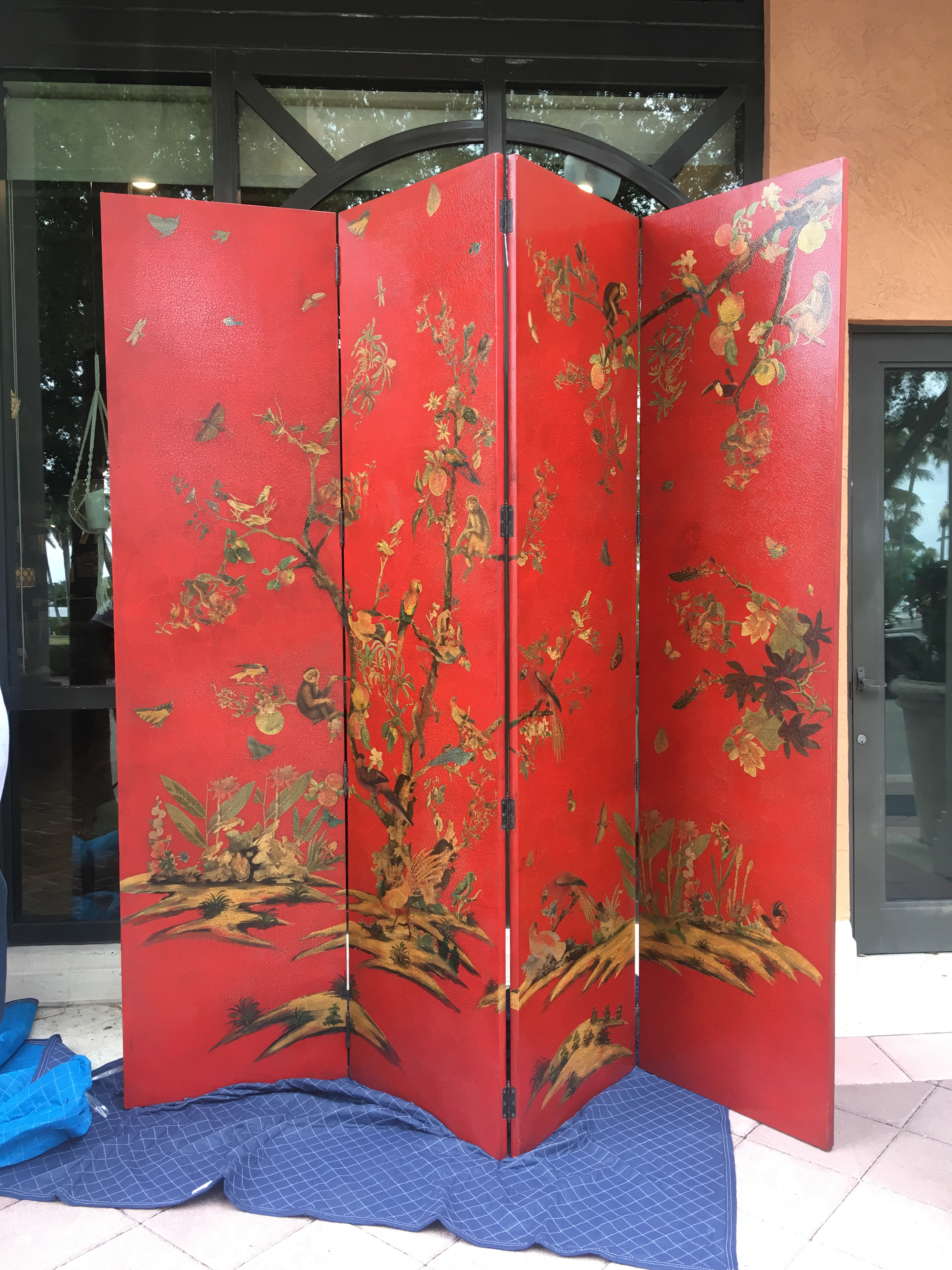 Chinoiserie Red Four Panel ScreenRoom Divider Chairish