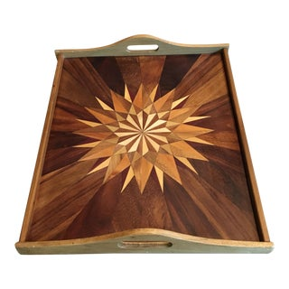 Mid-Century Geometric Teak & Mixed Wood Tray For Sale
