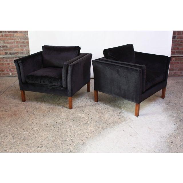 Pair of Danish Mogens Hansen Velvet Lounge Chairs - Image 10 of 10
