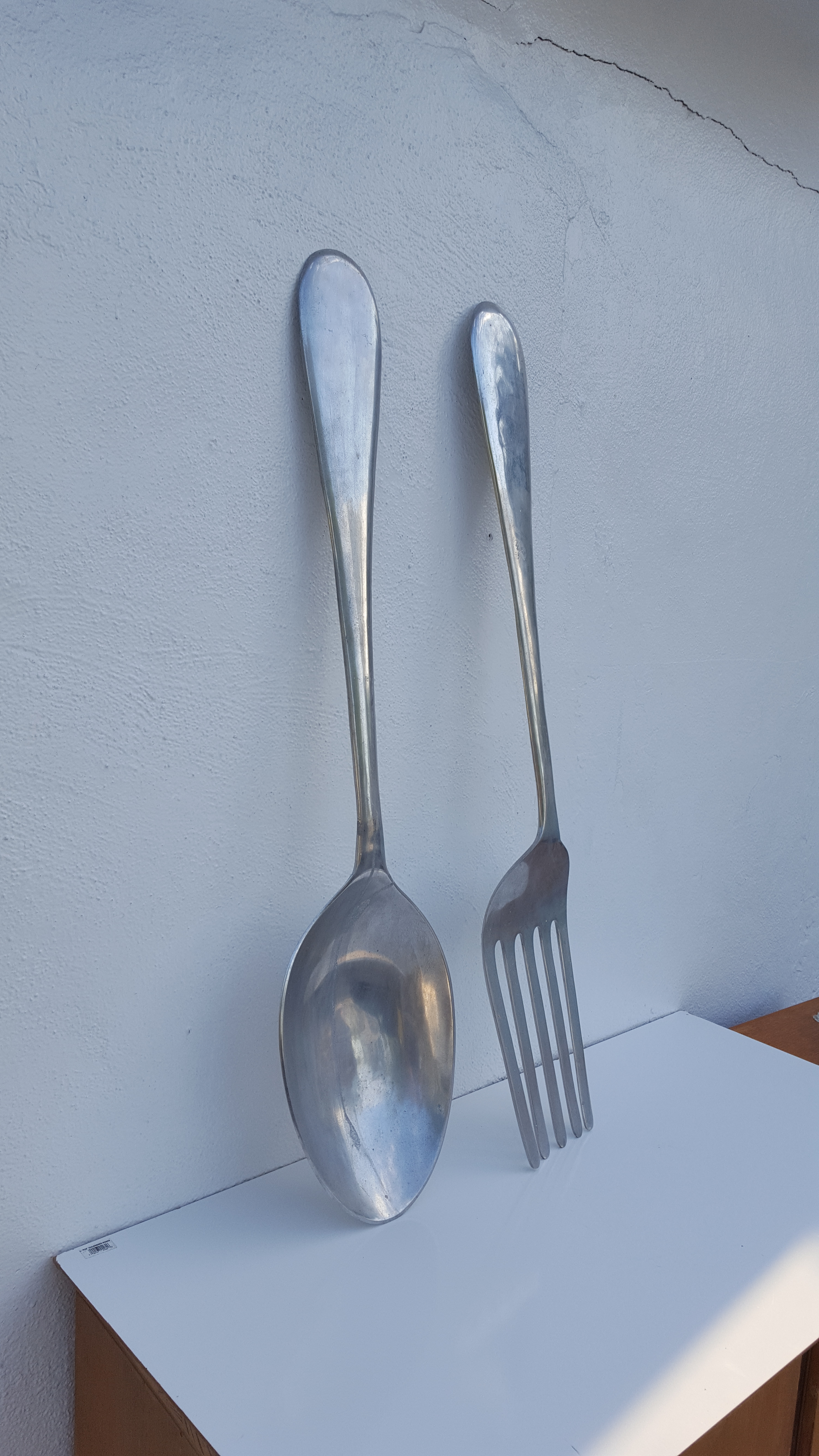 Oversized Curtis Jere Style Fork And Spoon Wall Art Sculptures a
