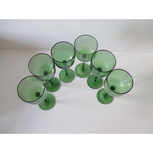 Late 20th Century Set of Six (6) Vintage Emerald Green Wine Vases For Sale - Image 5 of 6