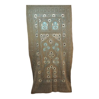 Vintage Blue and Grey Embroidery Artisanal Suzani Wall Hanging Tapestry For Sale
