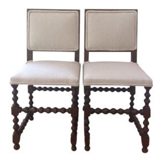 Late 19th Century Vintage Antique English Hall Chairs- A Pair For Sale