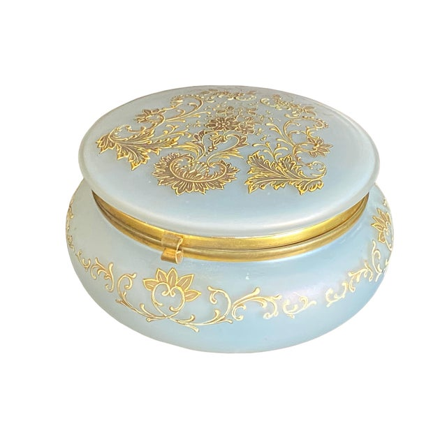 Glass 1930s Gold Painted Opaline Glass Box For Sale - Image 7 of 7