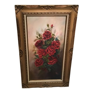 Vintage Traditional Original Floral Oil Painting For Sale