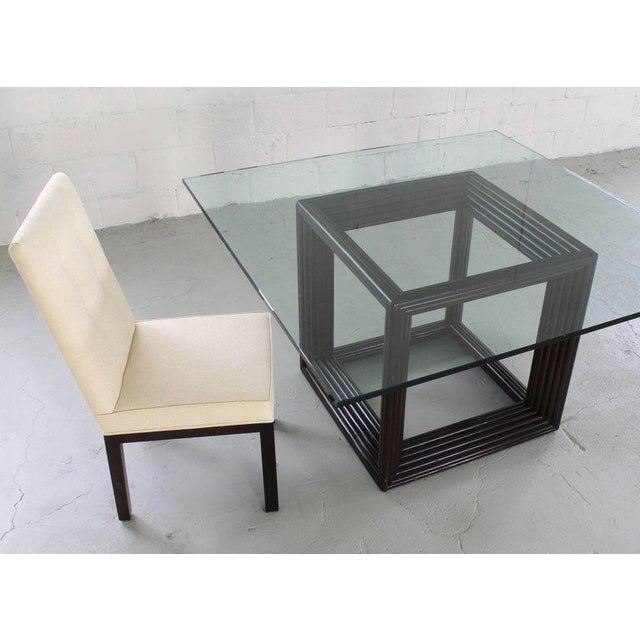 Large Square Thick Glass Top Rattan Cube Base Dining Conference Table For Sale - Image 12 of 13