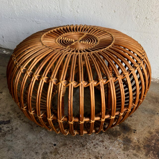 Asian Iconic Vintage Century Woven Rattan Ottoman Designed by Franco Albini. For Sale - Image 3 of 9