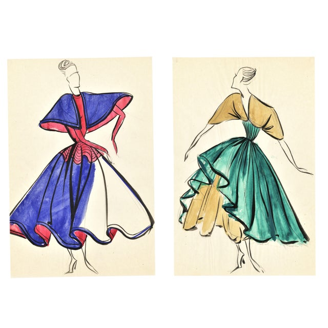Pair-Original French Fashion Design Drawings For Sale