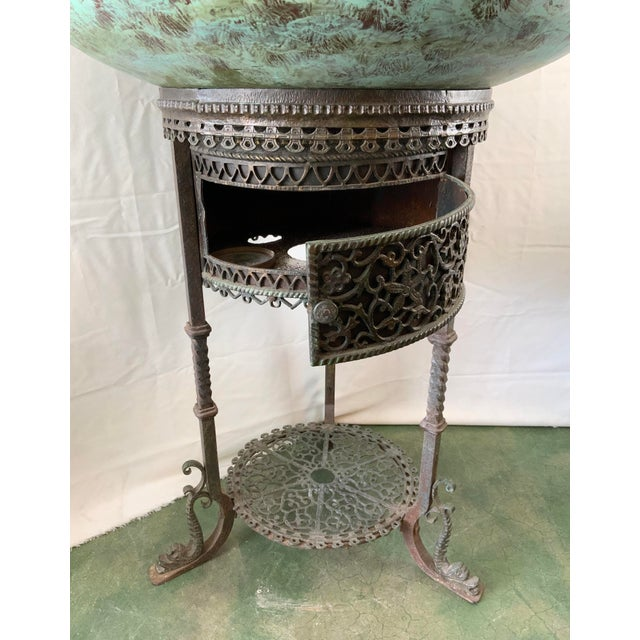 Ornate Indoor Fountain With Heavy Iron and Bronze Base For Sale In Los Angeles - Image 6 of 12