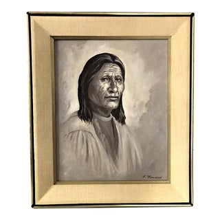 Vintage Oil on Board Painting of Native American Indian Portrait by E. Tomlinson For Sale