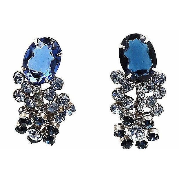 Blue 1960s Delizza & Elster Rhinestone Earrings For Sale - Image 8 of 8