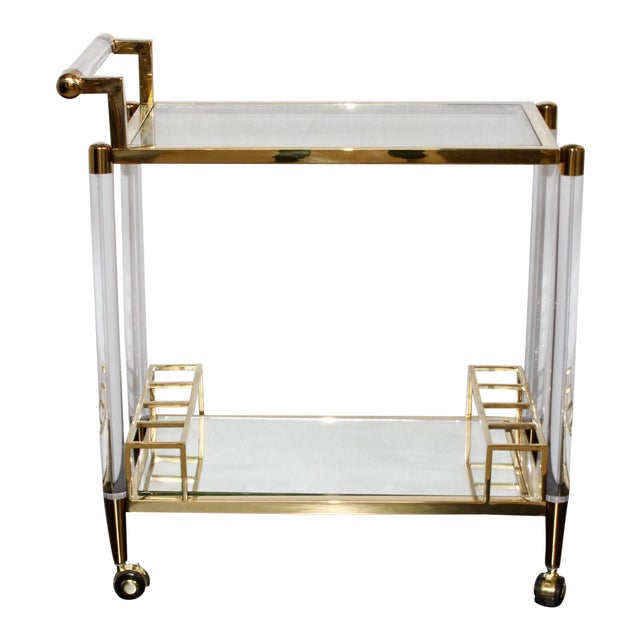 Vintage Hollywood Regency Lucite Bar Cart For Sale