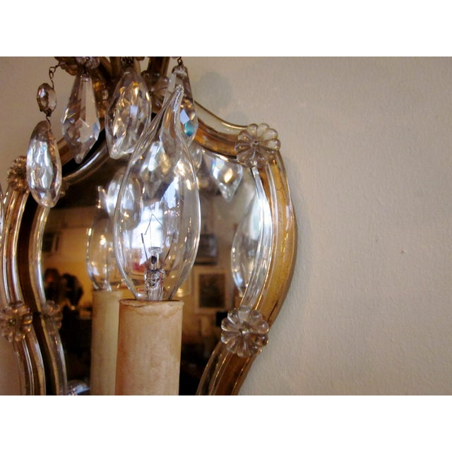 1920s French Louis XV Style Gilt Mirror and Glass Framed Sconces - a Pair For Sale - Image 10 of 13