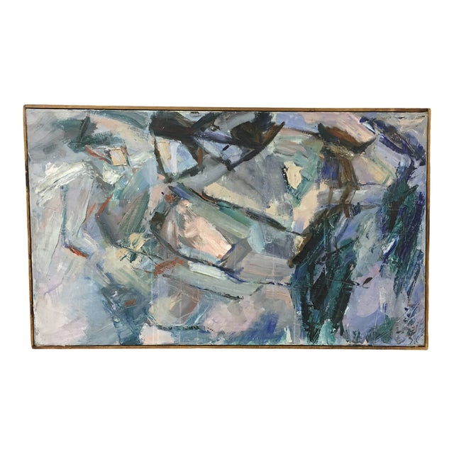 Vintage Mid-Century Abstract Painting For Sale