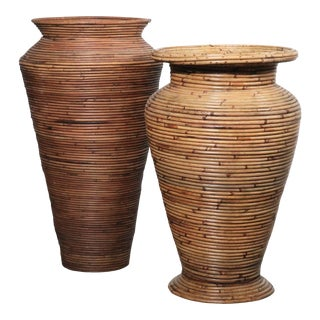 1970s Crespi Style Pencil Reed Floor Vases - A Pair