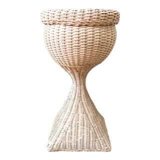 Vintage Boho Chic White Wicker Plant Stand For Sale