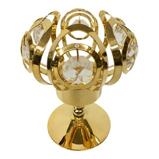 24 K Gold Plated Candle Holder With Strauss Swarovski Crystals For Sale