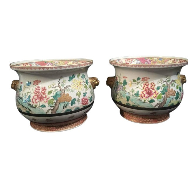 Pair of Chinese Famille Rose Cachepots For Sale