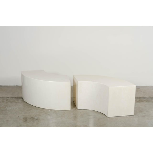 Contemporary Curve Bench - Cream Lacquer by Robert Kuo, Hand Made, Limited Edition For Sale - Image 3 of 5