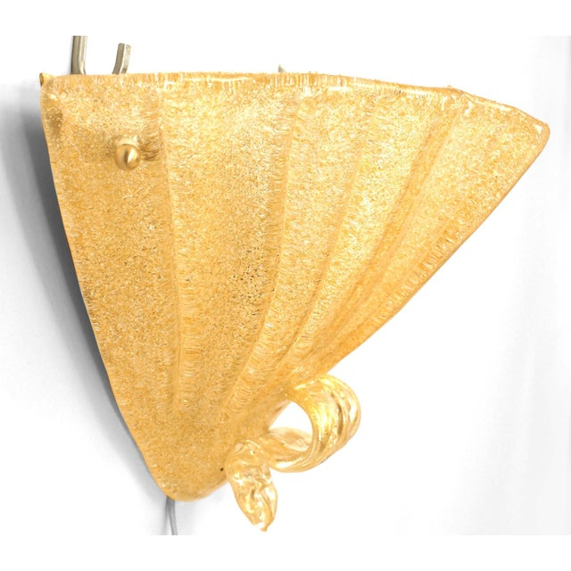 """Two pairs of Italian 1940s style Venetian Murano """"Ventola"""" gold sand textured glass sconces with a fluted fan shape and a..."""