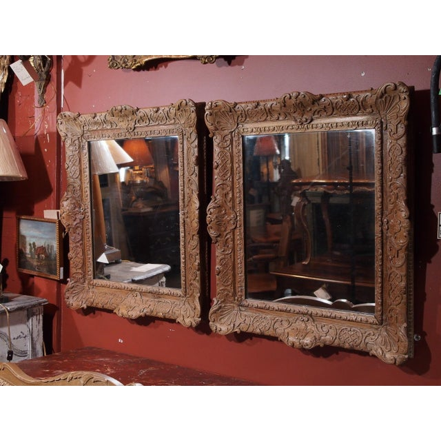 French Pair of 19th Century French Carved Oak Mirrors For Sale - Image 3 of 11