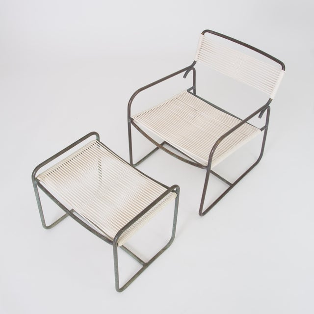 1950s Single Walter Lamb Patio Lounge Chair and Ottoman Set For Sale - Image 5 of 13