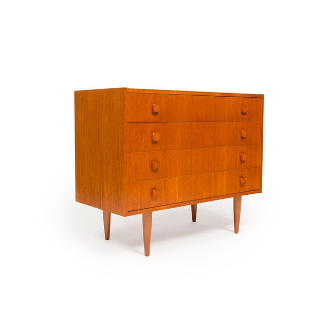 Mid-Century Modern Vintage Danish Mid-Century Teak Four Drawer Dresser For Sale - Image 3 of 9