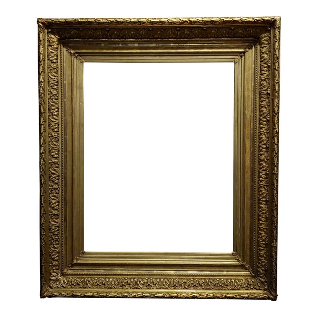 19th Century Large Ornate Carved Gilt Wood Frame - C1860s For Sale