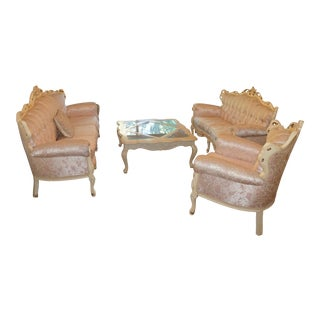 French Provincial Antique White Washed Living Room Set For Sale