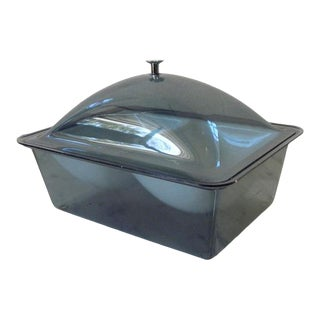 Vintage Mid Century Modern Smoked Acrylic Serving Cooling Dish For Sale