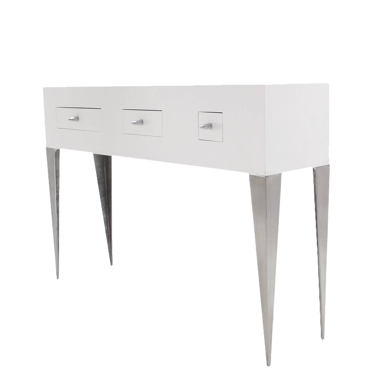 White Lacquer Console Table Cabinet Tall Tempered Legs Bullet Shape Pull 3  Drawe   Image 1
