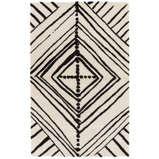 Nikki Chu by Jaipur Living Gemma Handmade Abstract White/ Black Area Rug - 2′ × 3′