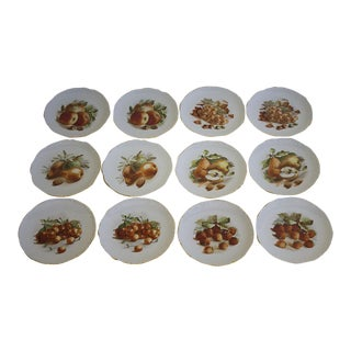 Vintage Set of 12 Porcelain E & R Golden Crown Fruit Plates, Germany For Sale