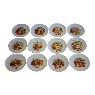 Vintage Set of 12 Porcelain E & R Golden Crown Fruit Plates, Germany